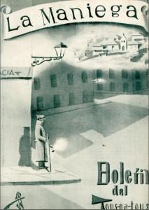 Portada del primer número de la revista La Maniega realizada por el arquitecto cangués José Gómez del Collado