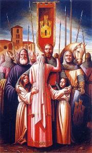 Despedida del Cid a doña Jimena en el momento de salir para el exilio. Monasterio de Cardeña, óleo de Cándido Pérez (2002)