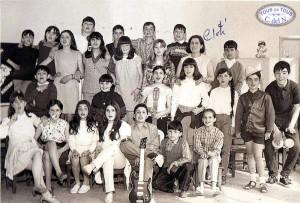 Doña Cloti y alumnos a principios de los años 60